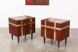 mid century walnut u0026 brass nightstands by henredon vintage