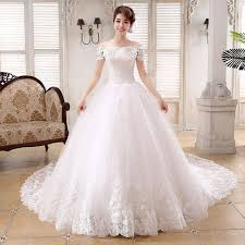 marriage dress fashionable boat neck floral lace wedding dress royal