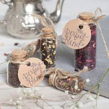 wedding favours wedding favour tea in glass bottle with cork by spice kitchen