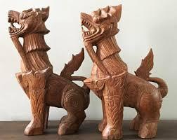 gold foo dogs wood foo dog etsy