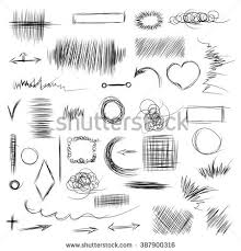 pencil sketches hand drawn scribble shapes stock illustration
