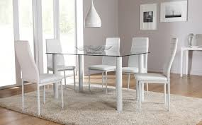 Chair Glass Dining Table With White Chairs Ciov - Contemporary glass dining table and chairs