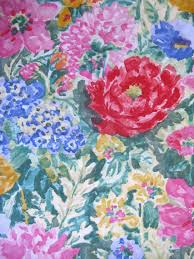 Home Decor Material by Vintage 1980s Fabric Pink Blue Green Floral Screen Print Cotton