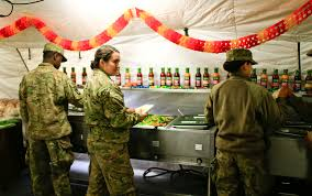 military thanksgiving u s soldiers celebrate thanksgiving in a military base north of iraq