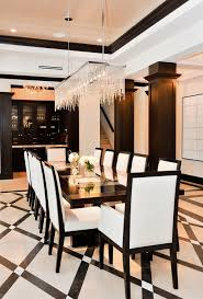 modern crystal dining room chandeliers with white table set