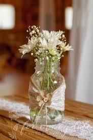 Rustic Mason Jar Centerpieces For Weddings by Clear Mason Jar Blue Flower Vase Rustic Wedding Centerpiece