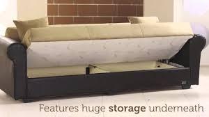 enea rainbow three seat sofa sleeper with storage in dark beige