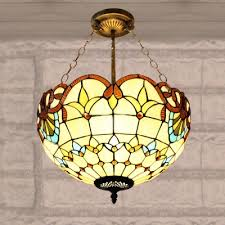 Stained Glass Ceiling Light 2 Light Beige Bowl Shade Stained Glass 12 Inch Chandelier