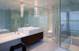 architecture bench seat and glass shower enclosures with dark