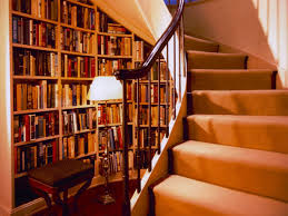 beautiful home library under stairs