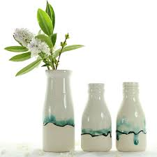 glass milk bottle vase milk bottle vase with landscape painting by helen rebecca ceramics
