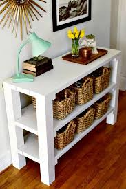 Entryway Table With Baskets 25 Best Diy Entryway Table Ideas With Tutorials Entryway Tables