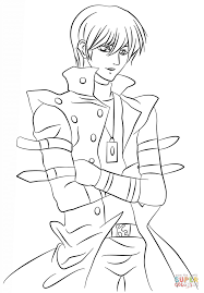 seto kaiba from yu gi oh coloring page free printable coloring