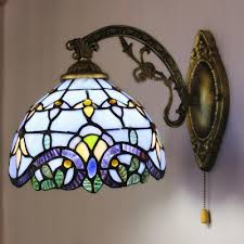 Stained Glass Wall Sconce Blue Baroque Stained Glass One Light Wall Sconce With Pull