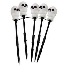Halloween Skull Lights by 5 White Skull Halloween Stake Lights
