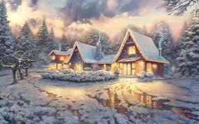thomas kinkade winter wallpaper photo hd free photos awesome
