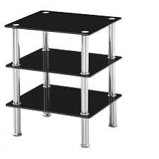 Black Glass Tables J12 3 Shelf Side Table Black Glass And Chrome