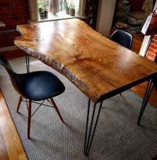 live edge ash dining table on hairpin legs by barnboardstore com