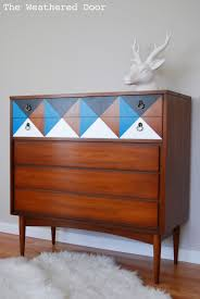 mid modern century furniture a geometric mid century dresser the weathered door