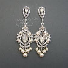 vintage wedding earrings chandeliers chandelier bridal earrings rhinestone pearl wedding by xinxinemin