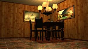 design room 3d online free with classic woodenn chair and floor