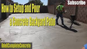 how to setup and pour a concrete backyard patio 4 youtube