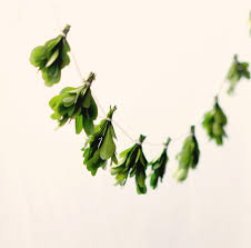 miniature leaf garland natural home decor boxwood wall hanging