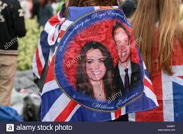 Wedding Flag Spectator Wearing A Royal Wedding Flag Stock Photo Royalty Free