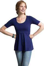 nursing top design organic peplum maternity nursing top in cobalt