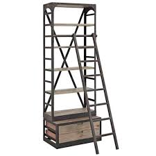 Walnut Ladder Bookcase Wood Bookshelf Brown By Modway