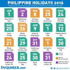 list of nationwide holidays for 2016 cebu provincial government