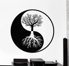 wall vinyl decal sticker yin yang tree roots abstract decor unique