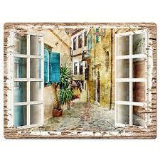 pp0605 french window scenery chic sign shop store cafe home room