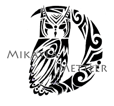 great horned owl and crescent moon by mikaylamettler on deviantart