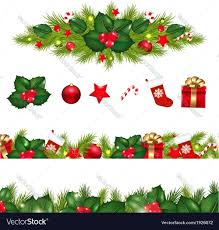 christmas garland christmas borders set with garland royalty free vector