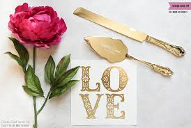 wedding gift knife set personalized gold wedding cake knife and server set 2pc