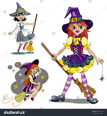 set three cute cartoon witches vector stock vector 453312943