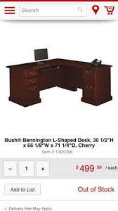 Bush Bennington L Shaped Desk Harvest Cherry Colored Bush Bennington L Shaped Desk For Office Or