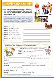 english teaching worksheets ordering food