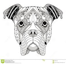 boxer dog head zentangle stylized vector illustration freehan