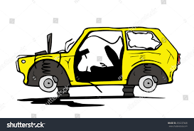 wrecked car clipart abandoned car stock vector 256237408 shutterstock