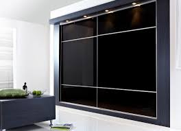furniture large black glass bedroom cabinet with sliding door