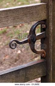 stylish ornate wrought iron wooden gate latch with and