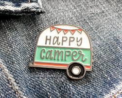 happy camper enamel pin lapel pin camper pin happy