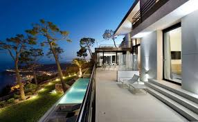 interior french style villa exterior design with cool lighting