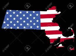 Flag Of Massachusetts Map Of The State Of Massachusetts And American Flag Stock Photo
