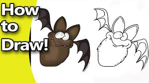 how to draw a cute cartoon bat for halloween step by step with