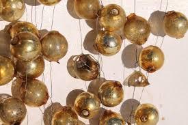 garland gold mercury glass balls baubles vintage tree