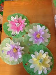 lily pads made from two sizes of coffee filters and cupcake liners