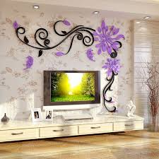 creative home decorations acrylic crystal flower vine 3d wall stickers living room wall